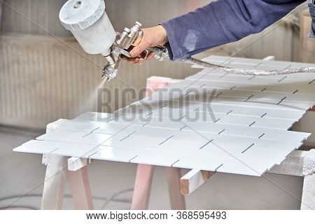 Painting Furniture In A Spray Booth. Furniture Manufacturing. Wooden Furniture Manufacturing Process