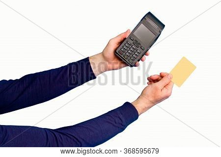 Male Hand Holding Yellow Credit Card And Payment Terminal On White Background