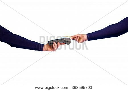 Hand Holding Credit Card And Terinal In The Process Of Payment