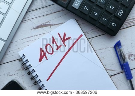 401k Plan On Notepad With Calculator Pen And Glasses.