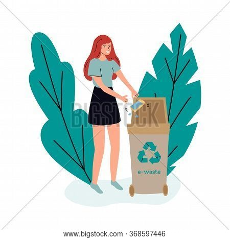 E-waste Recycle Bin - Cartoon Woman Putting Broken Phone In Container For Electronic Technology Tras