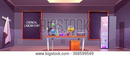 Chemical Laboratory Interior With Glass Flasks, Tubes And Beakers On Table, Blackboard On Wall. Vect
