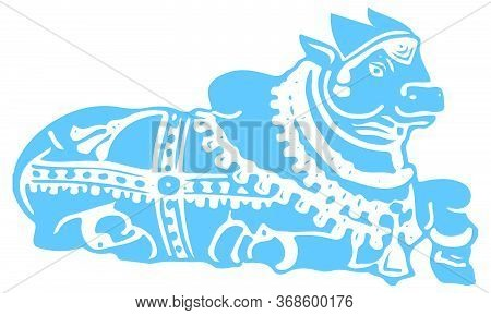 Drawing Or Sketch Of Lord Basava Or Nandi Outline Editable Vector Illustration. Vehicle Of Lord Shiv