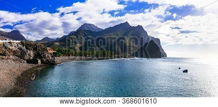 Impressive nature of Grand Canary island. Black beach La Aldea de san Nicolas