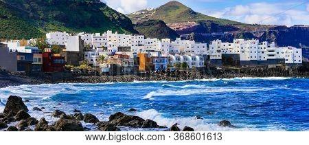 Canary islands travel. Scenic coastal village El Roque en El Pagador de Moya in Gran Canaria.(Grand Canary) .