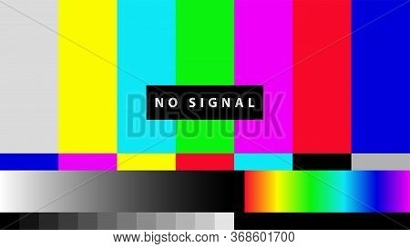 Telecommunication Background. No Tv Signal. Test Card Of Colored Stripes. Vector Illustration.