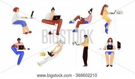 Vector Set Of People Working On A Laptop. Man And Woman Multiracial Characters, Working Remotely At