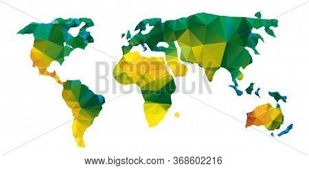 Vector Polygonal World Map. Low Poly Design With Yellow And Green Colors. Origami Planet Conceptual