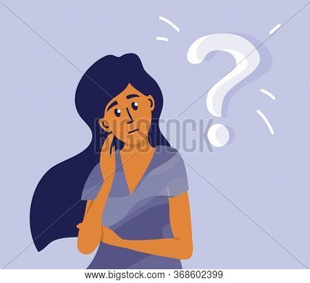 Young Pensive Woman Making Decision Looking At Question Mark. Worried Girl Thinking About Life Probl