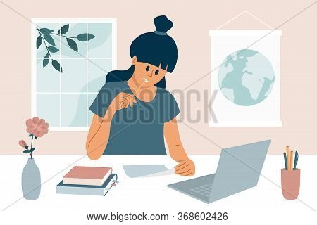 Stay At Home, Study Remotely. Working Or Learning Process Using Laptop. E-learning, Online Education