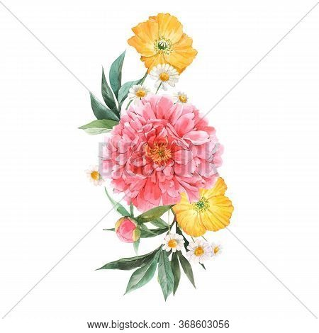Beautiful Floral Bouquet Composition With Watercolor Pink Peony And Yellow Poppy Flowers. Stock Illu
