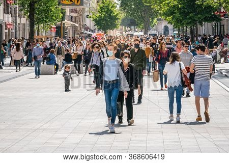Man Wearing Surgical Mask In Republique Street On The First Weekend Of The End Of Lockdown In Lyon F