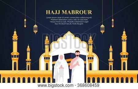 Hajj And Umrah Pilgrimage Praying Near Kaaba. Illustration Logo