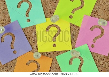 Paper Sticky Notes With Question Mark On Notice Board - Concept Of Faq And Finding Information