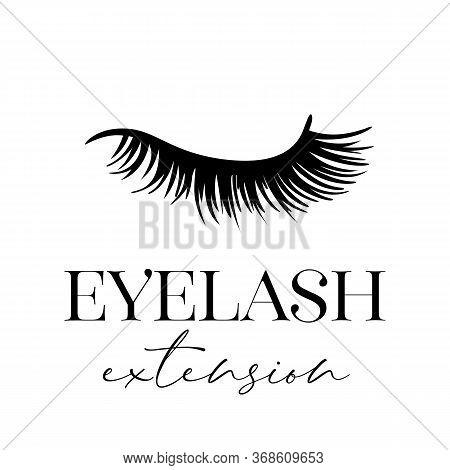 Eyelash Extension. Vector Illustration Of Closed Eye Isolated On White.
