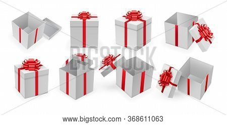 Gift Box. Open Present Box With Red Ribbon And Bow . Surprise Gift Box Set For Birthday Or Christmas