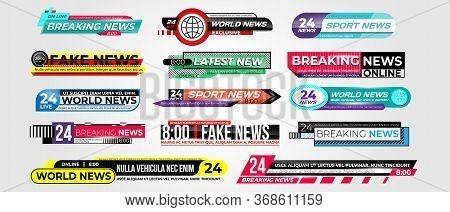 News Bar. Lower Third News Banner Set. Breaking Tv News Emblem, Fakenews, Streaming Video Sign. Tv B