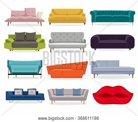 Sofa Isolated. Comfort Classic Couch And Modern Divan For Living Room. Flat Sofa Flat Illustration S