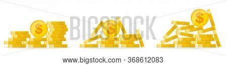 Set Of Coins. Pile Of Coins Isolated. Coins Cash Money In Piles. Vector Illustration.