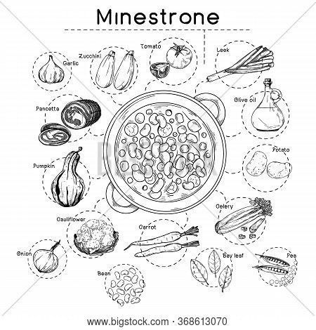 Italian Cuisine Soup Recipe. Minestrone. Plate With Soup And Different Ingredients Isolated On A Whi