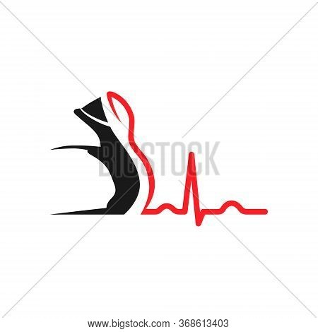 Running Shoe Symbol With A Cardiogram On White Backdrop. Design Element