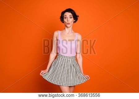 Portrait Of Astonished Sweet Girl Lady Have Spring Free Time Look Incredible Novelty Impressed Wear