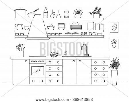 Hand Drawn Kitchen. Vector Illustration In Sketch Style.