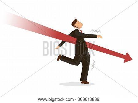 Businessman Attacks By Giant Red Arrow. Market Crash Or Crisis Concept Illustration. Falling Injured