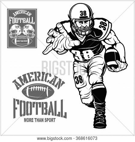 American Football Player Isolated On Black Background