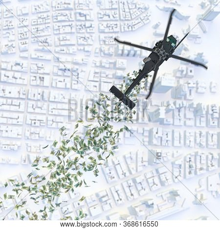 helicopter money, helicopter distributes cash money dollars over a city. possible short-term solution to recover from a financial crisis. 3d render.