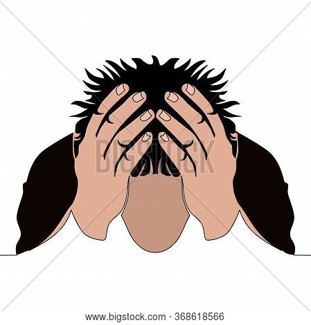 Flat Continuous Drawing Line Art Anxious Man Clutching His Head Icon Vector Illustration Concept