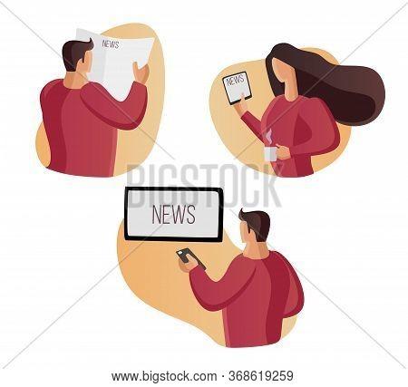 Read News, Watch News Home. Watch Tv, Read A Newspaper. Reading, Watching, Listening. Screen, Displa