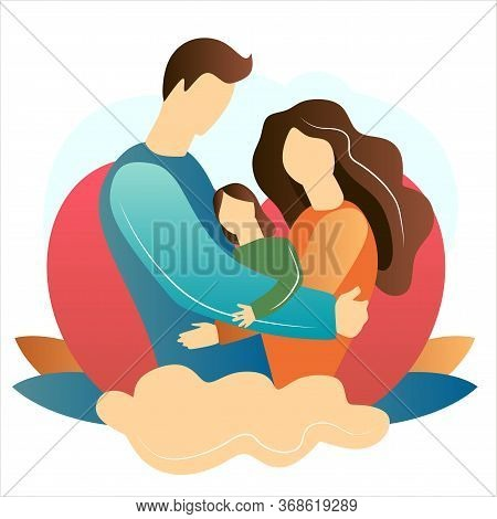 Family.father And Mother Silhouette With Her Baby. Wife And Husband. Card Of Happy Mothers Day. Vect
