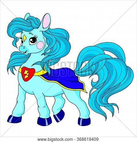 Cute Cartoon Pony Character. Pony Baby Superhero. Vector Isolated On White Background. Fairytale Pon