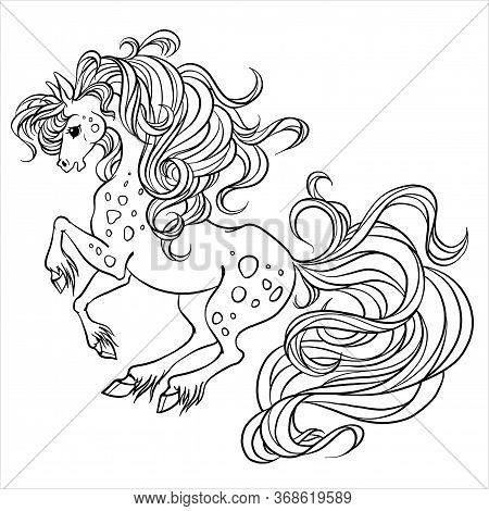 Beautiful Horse Fabulous. Horse Maned Vector. Coloring Book Page. Coloring Book For Children's Creat