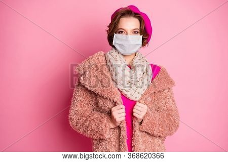 Portrait Of Her She Attractive Pretty Fashionable Lovely Girl Wearing Gauze Mask Faux Fur Overcoat I