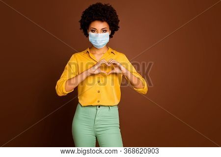 Portrait Of Her She Attractive Dark Skin Wavy-haired Lady Wearing Gauze Mask Showing Healthy Heart S