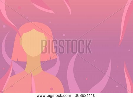 Girl With Short Pink Hair On Purple Gradient Background With Plants And Fireflies. 2d Illustration T