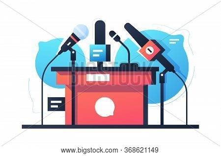 Empty Debate And Negotiation Microphone Stand Icon. Isolated Concept Communication Equipment On Bubb
