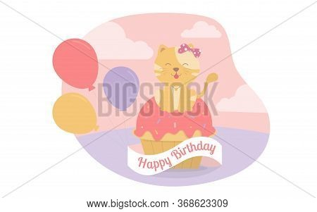 The Cat Sat On The Cupcake With Balloons Celebrating The Birthday Party.vector Illustrator.party Inv