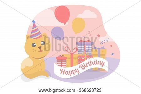 The Yellow Cat Sat Beside The Gift Box And Balloons At The Birthday Party.vector Illustrator.party I