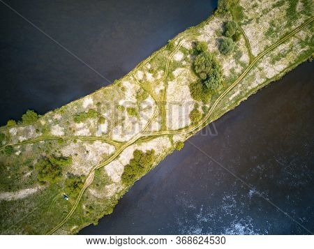 Island On River Dnepr. Top Aerial View. Rural Dirt Roads