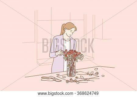 Floristics, Business, Decoration Concept. Young Happy Smiling Busineswoman Girl Florist Cartoon Char