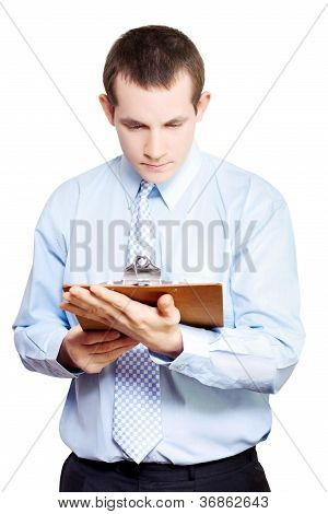 Minute Taking Businessman Reading Meeting Notes