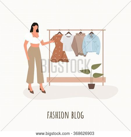 Fashion Blogger. Young Beautiful Woman With A Wardrobe Closet. Vector