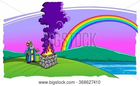 Noah Made A Sacrifice After The Flood And A Rainbow In The Sky