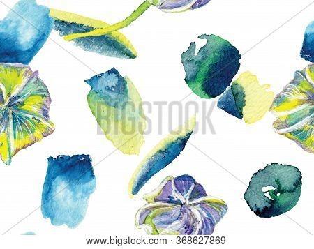Vibrant Sakura And Jasmine Print. Bio Jasmin Seamless Pattern. Watercolor Citrus Orange Blooming Flo