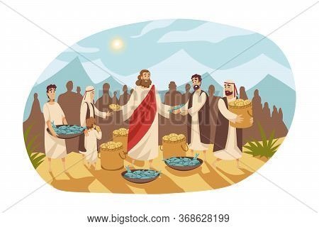 Christianity, Religion, Bible Concept. Saturation Feeding Crowd Of Five Thousand People With Two Fis