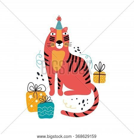 Tiger Birthday With Gifts. Exotic Cat On Holiday. Hand Drawn Cute Cartoon Tiger Character In A Festi
