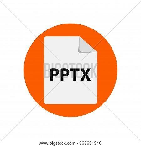 Vector Orange Icon Pptx. File Format Extensions Icon.
